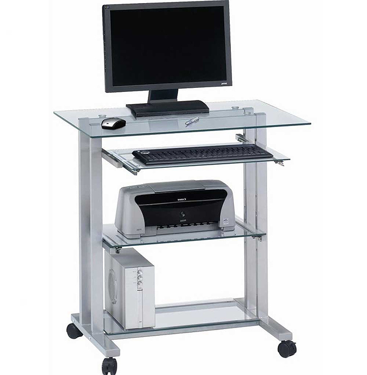glass top mobile laptop workstation