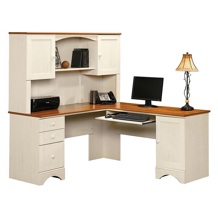 Corner computer desk white
