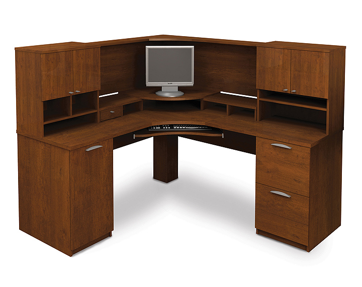 Corner computer desk with printer shelf