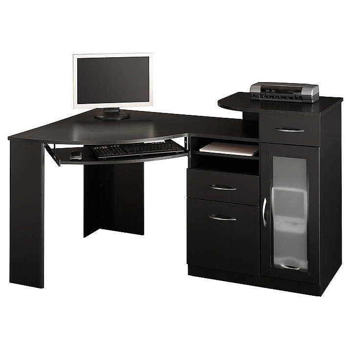 Corner computer tower desk black