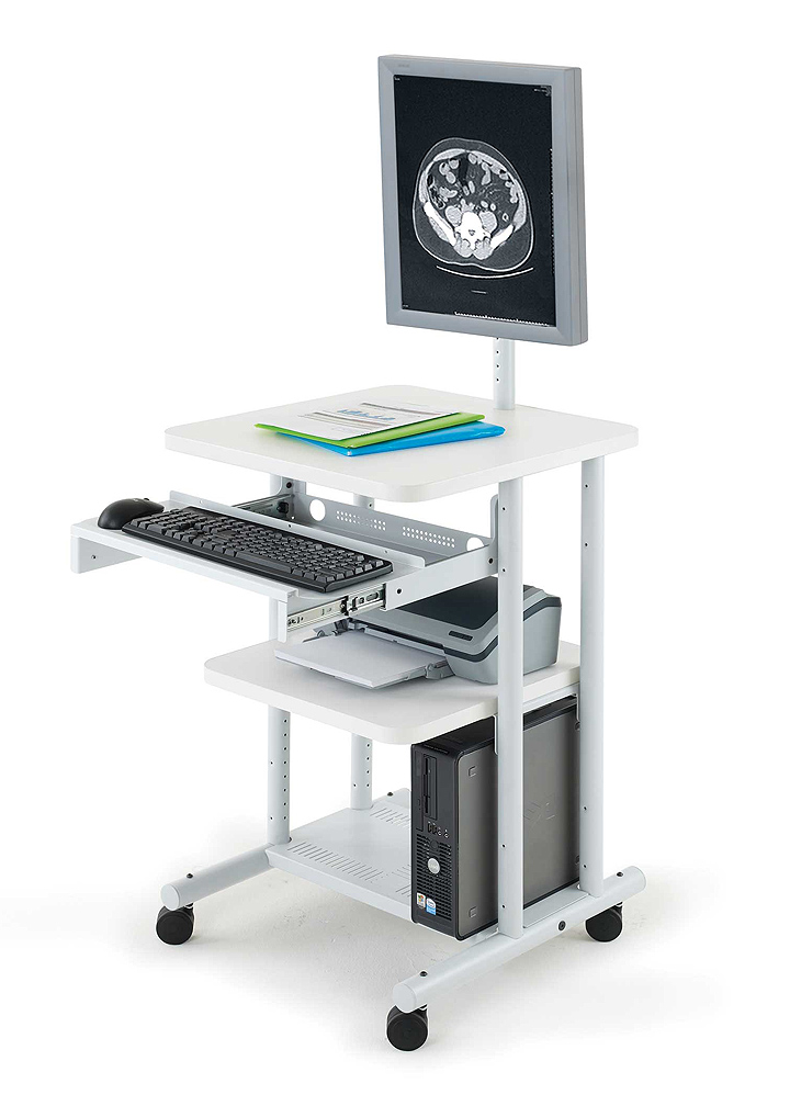 Portable computer cart desk on wheels