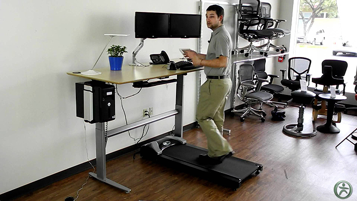 Sit and stand treadmill desk