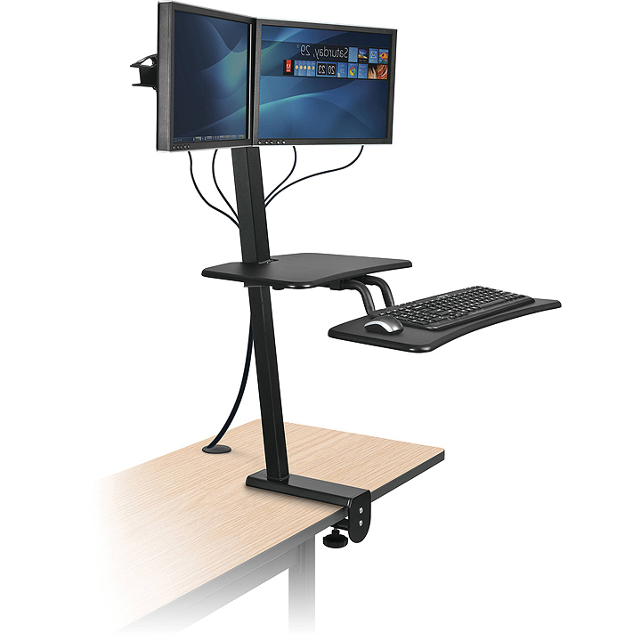 Sit stand desk top workstation with single monitor mount
